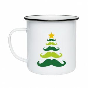 Kubek emaliowany Mustache Christmas Tree