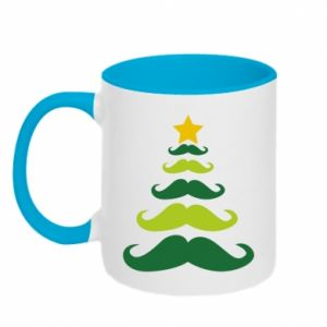 Two-toned mug Mustache Christmas Tree