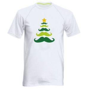 Koszulka sportowa męska Mustache Christmas Tree