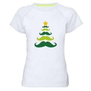 Koszulka sportowa damska Mustache Christmas Tree