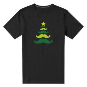 Męska premium koszulka Mustache Christmas Tree