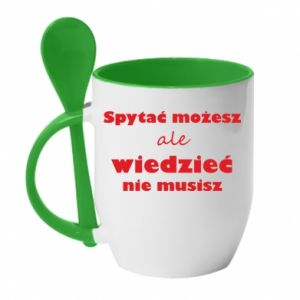 Mug with ceramic spoon Ask you... - PrintSalon