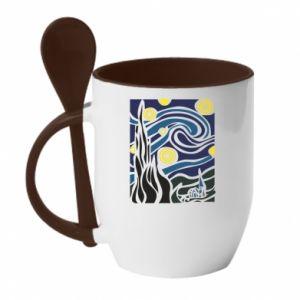 Mug with ceramic spoon Starlight Night - PrintSalon