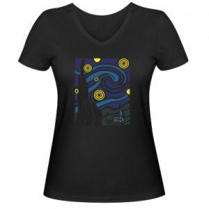 Women's V-neck t-shirt Starlight Night - PrintSalon