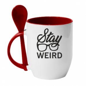 Kubek z ceramiczną łyżeczką Stay weird