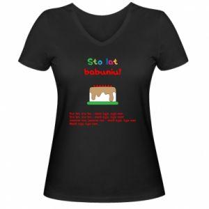 Damska koszulka V-neck Sto lat babuniu!