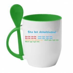 Mug with ceramic spoon Happy birthday, grandpa! - PrintSalon