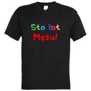 Men's V-neck t-shirt Happy birthday, husband! - PrintSalon
