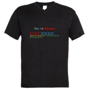 Men's V-neck t-shirt Happy Birthday daddy! - PrintSalon
