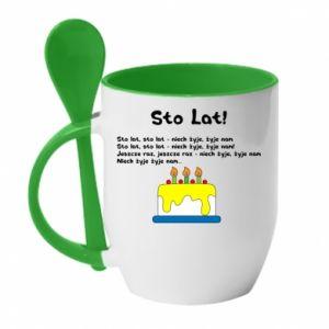 Mug with ceramic spoon A hundred years! - PrintSalon