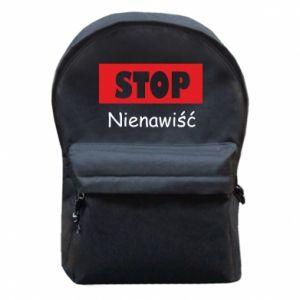 Plecak z przednią kieszenią Stop. Nienawiść