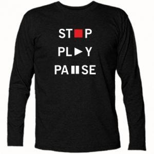 Koszulka z długim rękawem Stop. Play. Pause.
