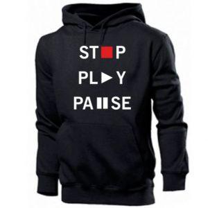 Męska bluza z kapturem Stop. Play. Pause.