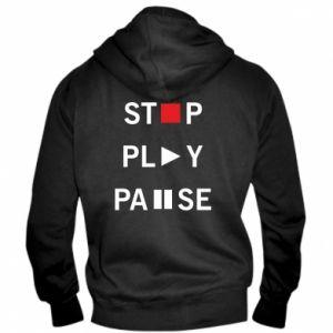Męska bluza z kapturem na zamek Stop. Play. Pause.