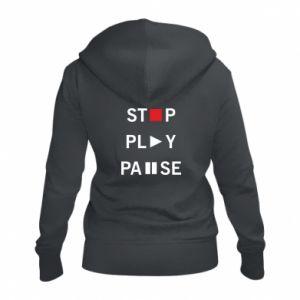 Damska bluza na zamek Stop. Play. Pause.