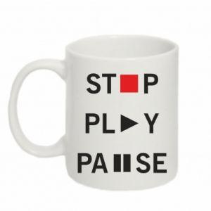 Kubek 330ml Stop. Play. Pause.