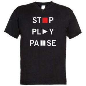 Męska koszulka V-neck Stop. Play. Pause.
