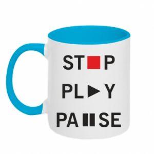 Kubek dwukolorowy Stop. Play. Pause.