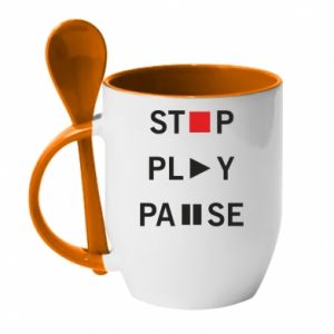 Kubek z ceramiczną łyżeczką Stop. Play. Pause.