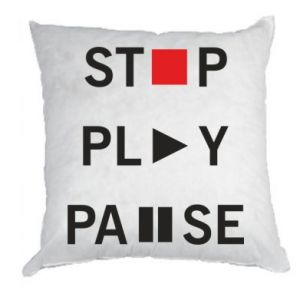Poduszka Stop. Play. Pause.