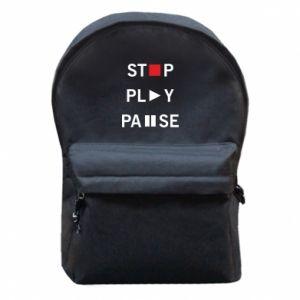 Plecak z przednią kieszenią Stop. Play. Pause.