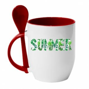 Mug with ceramic spoon Summer