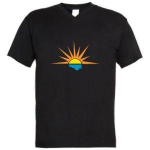 Męska koszulka V-neck Sunset sun sea