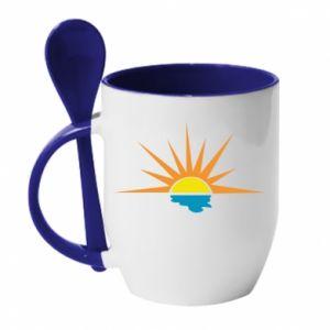 Kubek z ceramiczną łyżeczką Sunset sun sea