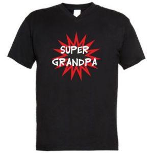 Men's V-neck t-shirt Super grandpa