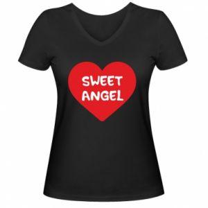 Damska koszulka V-neck Sweet angel