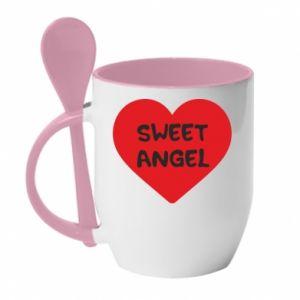 Kubek z ceramiczną łyżeczką Sweet angel