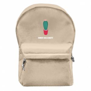 Backpack with front pocket Sweet as a cacti wih flower