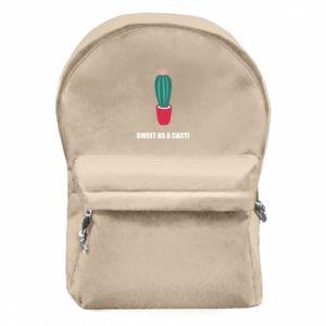 Plecak z przednią kieszenią Sweet as a cacti wih flower