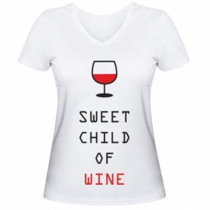 Damska koszulka V-neck Sweet child of wine
