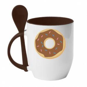 Kubek z ceramiczną łyżeczką Sweet donut