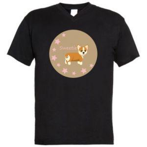 Męska koszulka V-neck Sweetie dog - PrintSalon