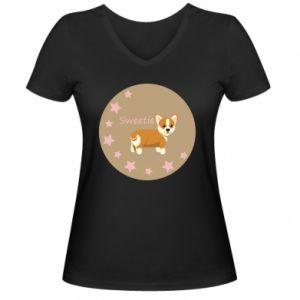 Women's V-neck t-shirt Sweetie dog - PrintSalon