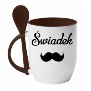 Mug with ceramic spoon Wedding witness - PrintSalon