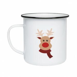 Enameled mug Christmas moose