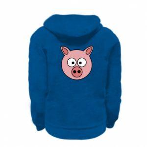 Kid's zipped hoodie % print% Pig