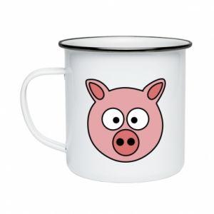 Enameled mug Pig