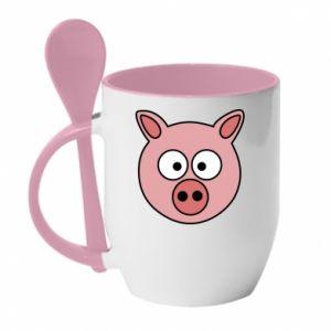 Kubek z ceramiczną łyżeczką Świnia