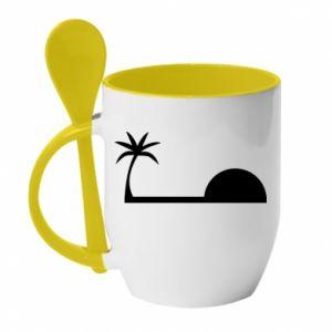 Kubek z ceramiczną łyżeczką Świt