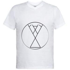 Męska koszulka V-neck Symbol radości, miłości, życia