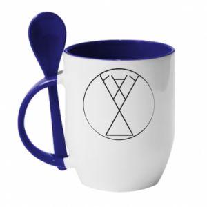 Kubek z ceramiczną łyżeczką Symbol radości, miłości, życia