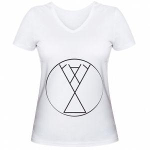 Damska koszulka V-neck Symbol radości, miłości, życia