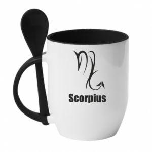 Mug with ceramic spoon Scorpio Symbol