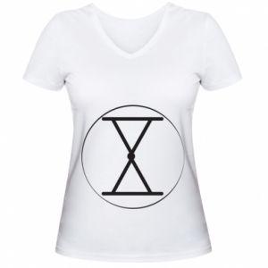 Damska koszulka V-neck Symbol zbiorów i płodności