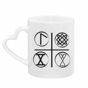 Mug with heart shaped handle Symbols