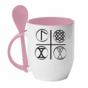 Kubek z ceramiczną łyżeczką Symbole